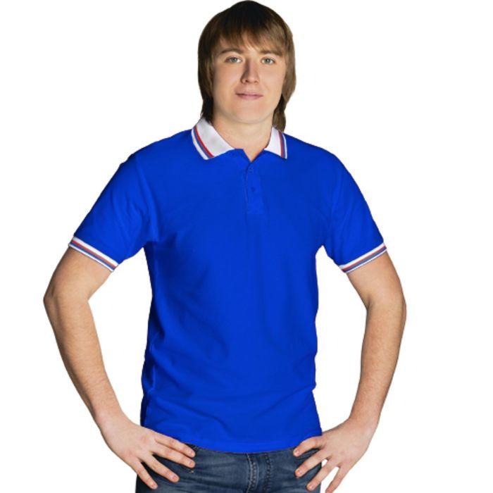 Рубашка-поло мужская StanRussian, размер 50, цвет синий-белый 185 г/м