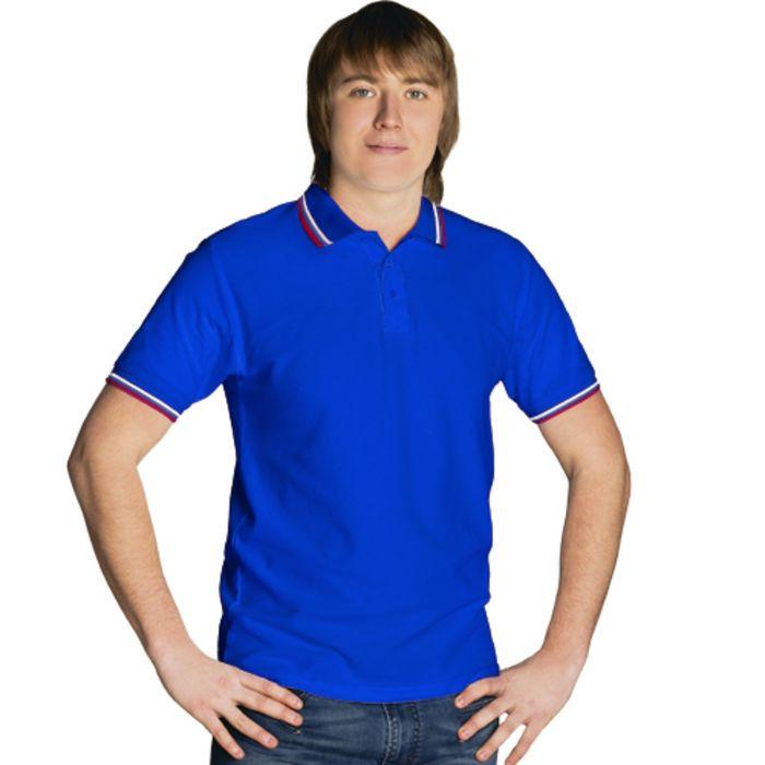 Рубашка-поло мужская StanRussian, размер 52, цвет синий 185 г/м