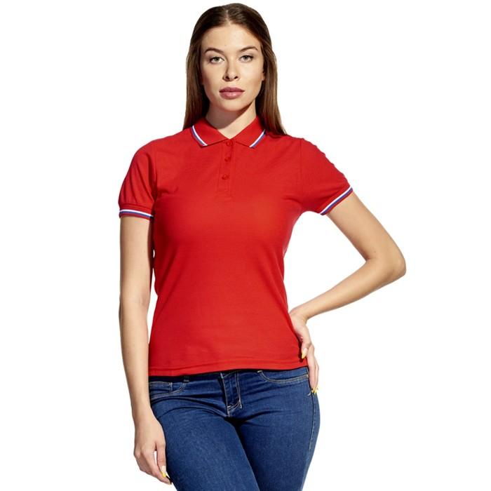 Рубашка-поло женская StanRussian, размер 52, цвет красный 185 г/м