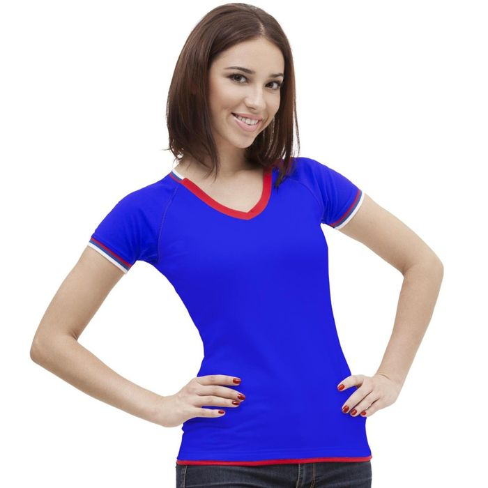 Футболка женская MoscowStyle, размер 46, цвет синий 200 г/м