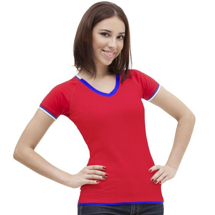Футболка женская MoscowStyle, размер 52, цвет красный 200 г/м