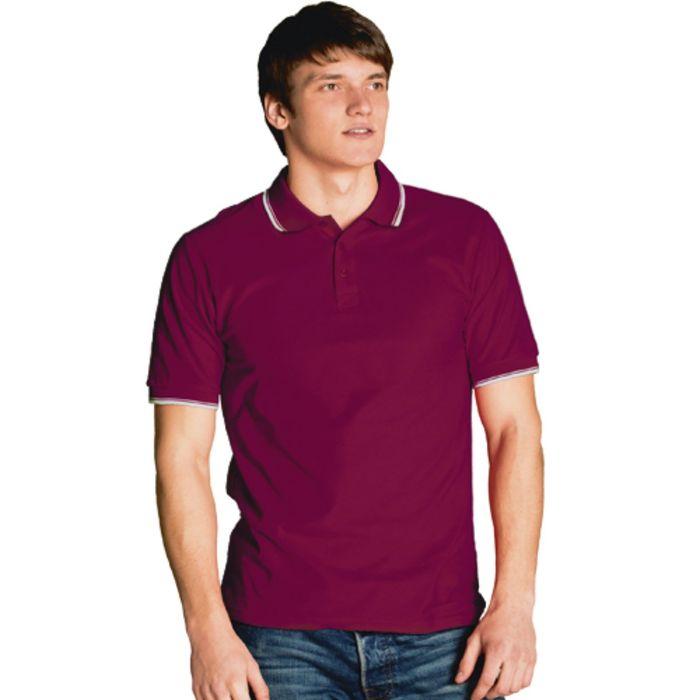 Рубашка-поло мужская StanTrophy, размер 50, цвет винный 185 г/м