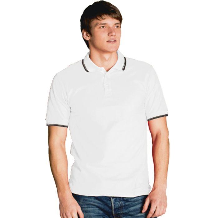 Рубашка-поло мужская StanTrophy, размер 52, цвет белый 185 г/м