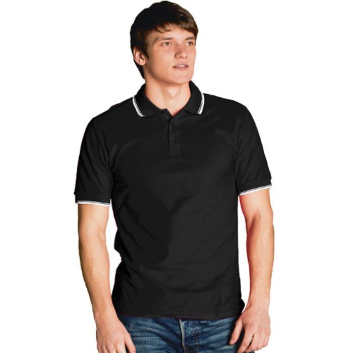 Рубашка-поло мужская StanTrophy, размер 52, цвет чёрный 185 г/м