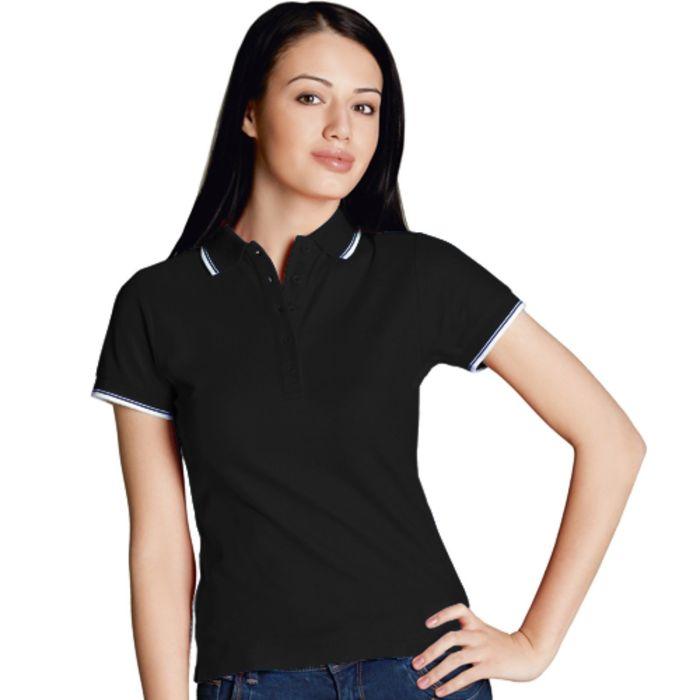 Рубашка-поло женская StanBeauty, размер 52, цвет чёрный 185 г/м