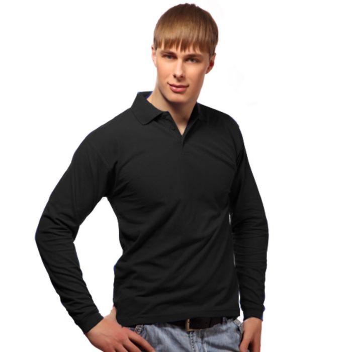 Рубашка-поло мужская StanPolo, размер 46, цвет чёрный 185 г/м