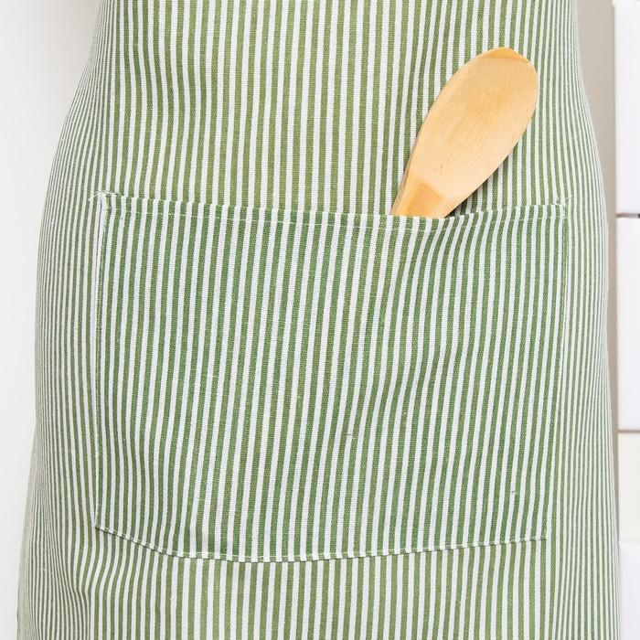Фартук Доляна 60х70см, Зеленая полоска, 100%пэ, рогожка 200 гр/м