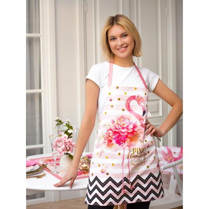 """Фартук """"Этель"""" Pink flamingo 60х65 см см, 100% хл, саржа 190 гр/м2"""