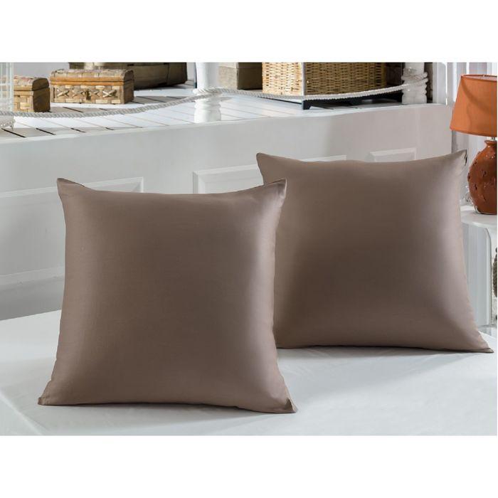 Наволочка KARNA SERVAN, размер 70х70 см, сатин 120 г/м2, цвет коричневый