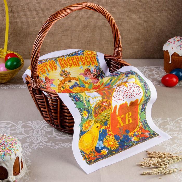 """Рушник пасхальный """"Корзина с цветами и яйцами"""", 65 × 30 см"""