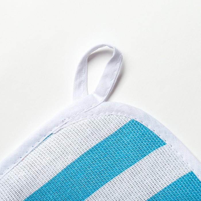 Прихватка Этель «Голубая полоска» 20×20 см, рогожка