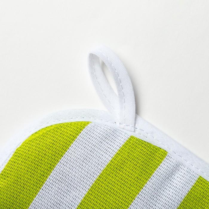 Прихватка Этель «Зеленая полоска» 20×20 см, рогожка