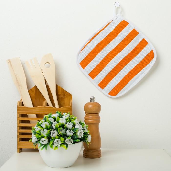 Прихватка Этель «Персиковая полоска» 20×20 см, рогожка