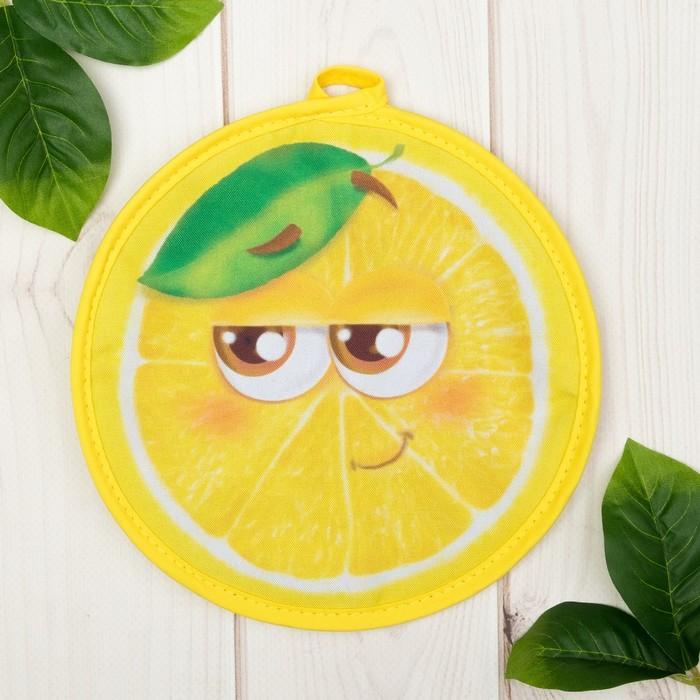 """Прихватка """"Доляна"""" Лимон, 20 х 20 см, 35% х/л, 65% п/э, ватин 250г/м2"""