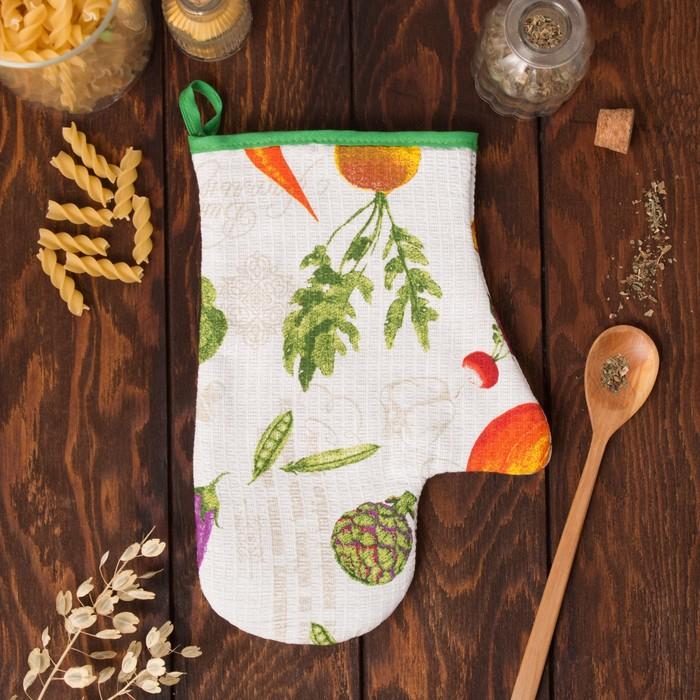 """Варежка-прихватка """"Доляна"""" Овощи, размер 18х26 см, 100% хлопок, вафельное полотно 162г/м2"""