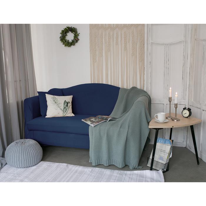Чехол для мягкой мебели Collorista,4-х местный диван,наволочка 40*40 см в ПОДАРОК,тёмн.синий 24810
