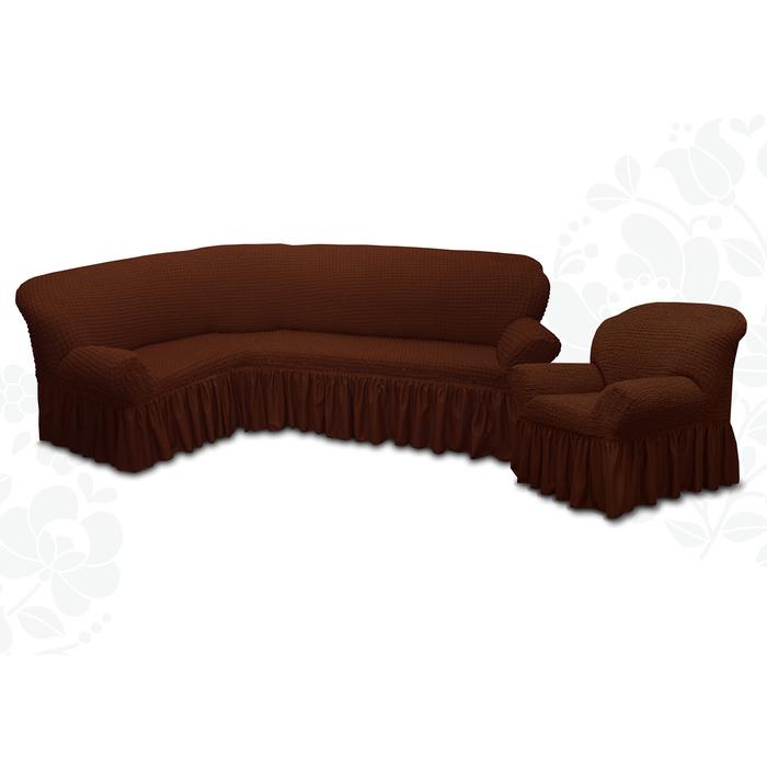 Чехол для мягкой мебели  2 пред диван угловой, кресло 6057, трикот, 100%пэ, упаковка микс