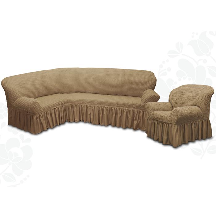 Чехол для мягкой мебели 2пред диван угловой, кресло 6082, трикот, 100% п/э, упаковка микс