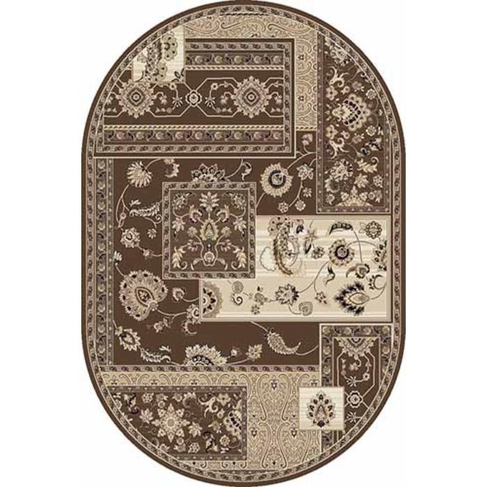 Ковёр Хит-Сет ПП VALENCIA DELUXE d248, 1 × 3 м, овал, BROWN