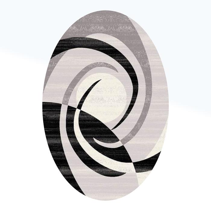 Ковёр Omega Carving  1378 GREY/BLACK 2.0*4.5 м, овал