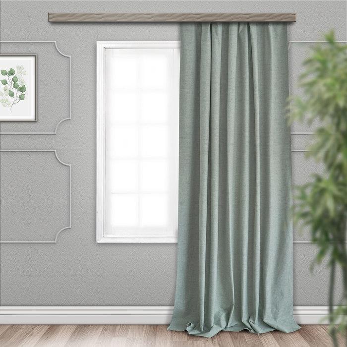 Шторы портьерные, размер 190 × 275 см, блэкаут, меланж, цвет фисташковый
