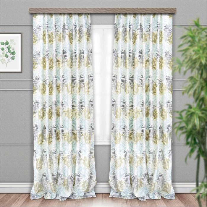 Шторы портьерные «Пальма», размер 135 × 260 см-2 шт, жаккард-печать, голубой