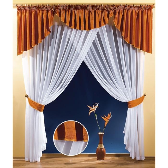 Комплект штор, 250х270 см-2 шт., ламбрекен 80х430 см, белый/оранжевый