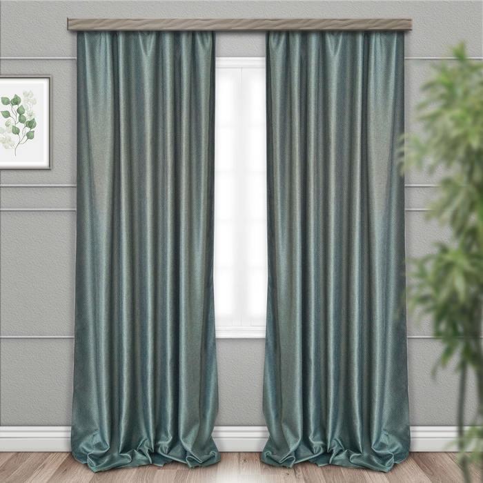 Шторы портьерные, размер 135 × 260 см-2 шт, блэкаут, рогожка, цвет тёмно-зелёный