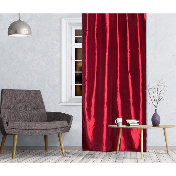 Штора портьерная 143х260 см, тафта, темно-бордовый, на шторной ленте, пэ 100%