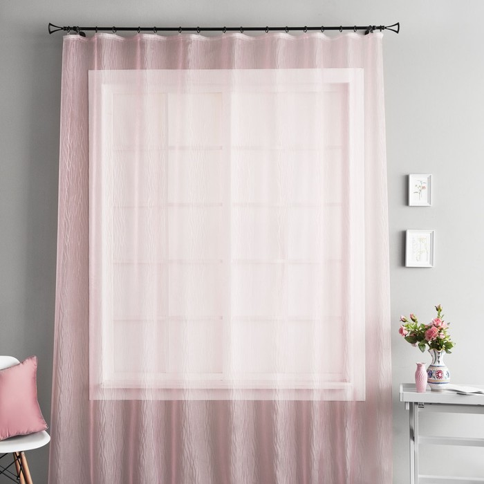 Портьера «Аника», размер 250х280 см-1 шт, цвет розовый