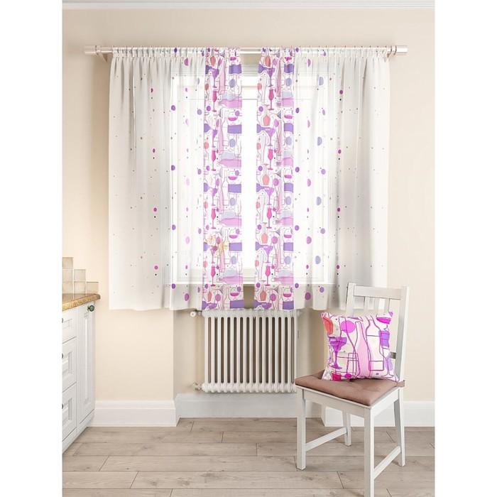 Комплект штор для кухни «Кринс», размер 150 × 180 см - 2 шт, фиолетовый