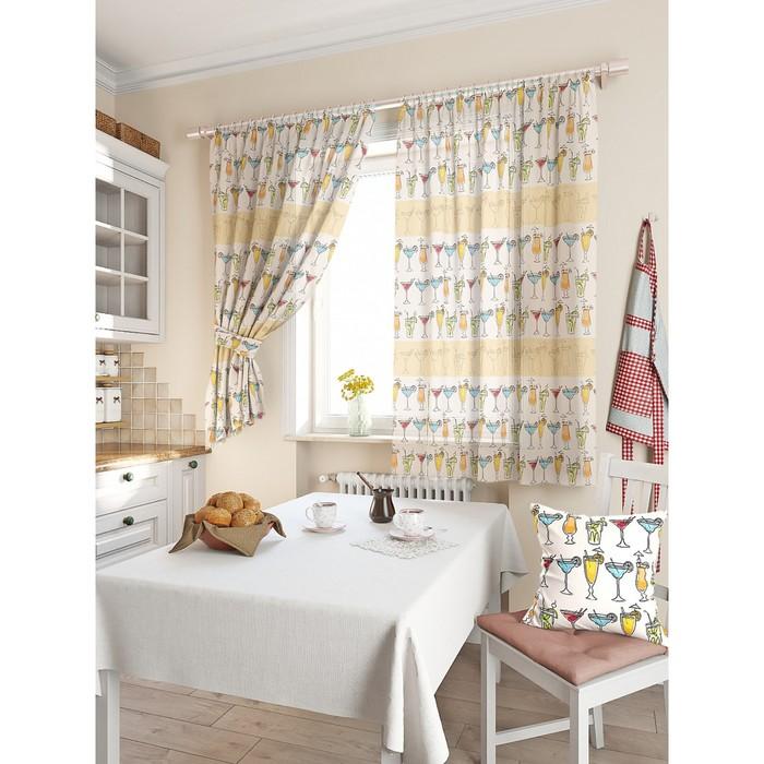 Комплект штор для кухни «Таил», размер 150 × 180 см - 2 шт, бежевый