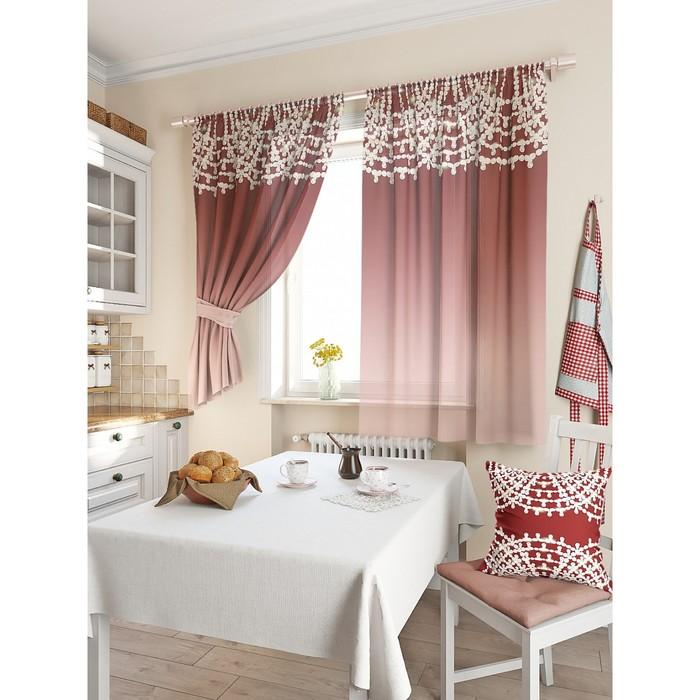 Комплект штор для кухни «Такюль», размер 150 × 180 см - 2 шт, винный