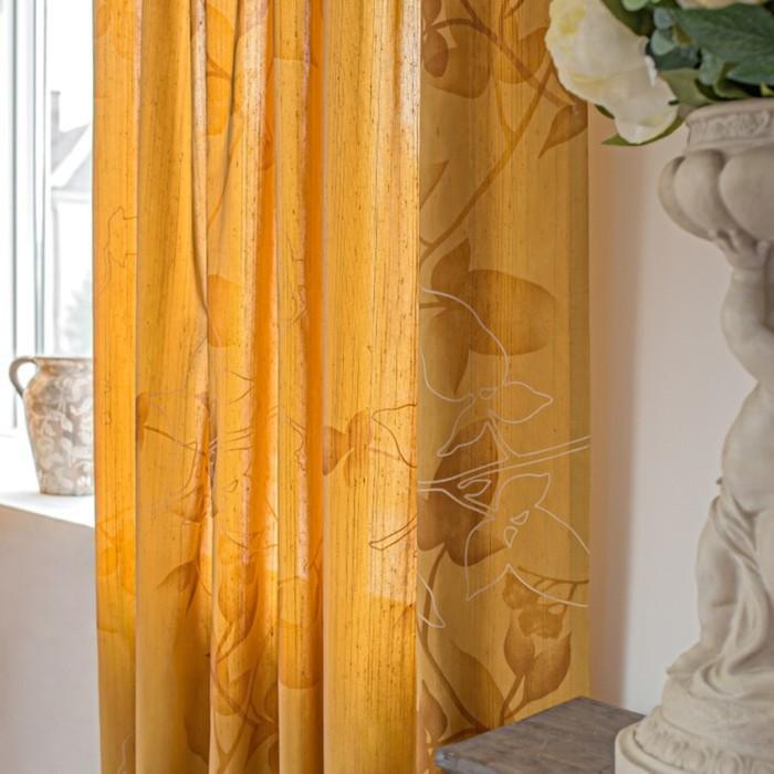 Шторы Aralie, размер 160х270 см-2 шт., цвет оранжевый, шторная лента