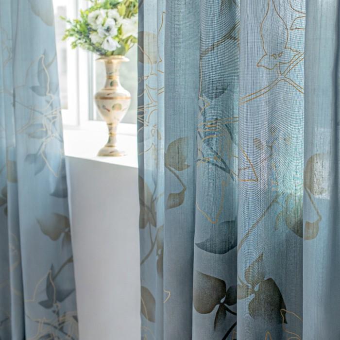 Шторы Aralie, размер 160х250 см-2 шт., цвет голубой, шторная лента