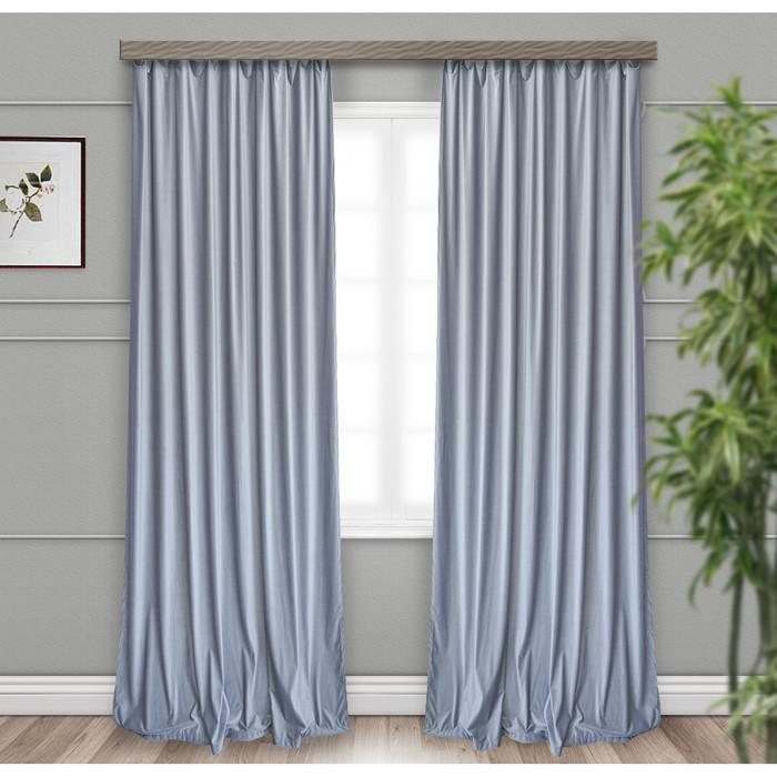 Комплект портьер, размер 135 × 260 см-2 шт, вельвет, однотонный, серый