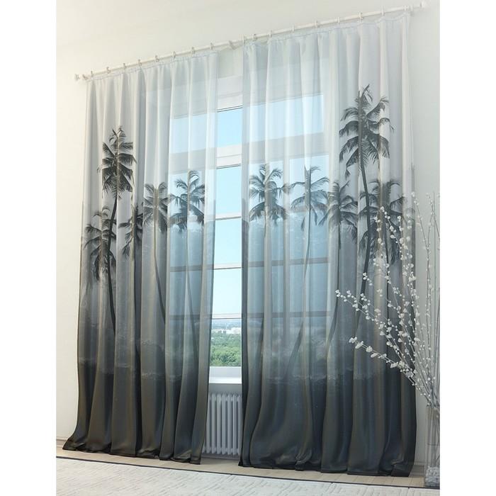Тюль «Пальмы», размер 150 х 260 см (2 шт.)