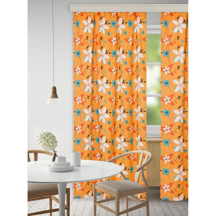 """Набор штор """"Экономь и Я"""" 145х250 см - 2 шт., Цветы на оранжевом, полиэфир"""