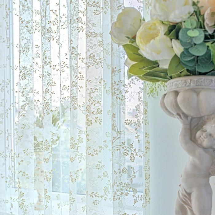Тюль-сетка, размер 400х270 см-1 шт., цвет шампань, шторная лента