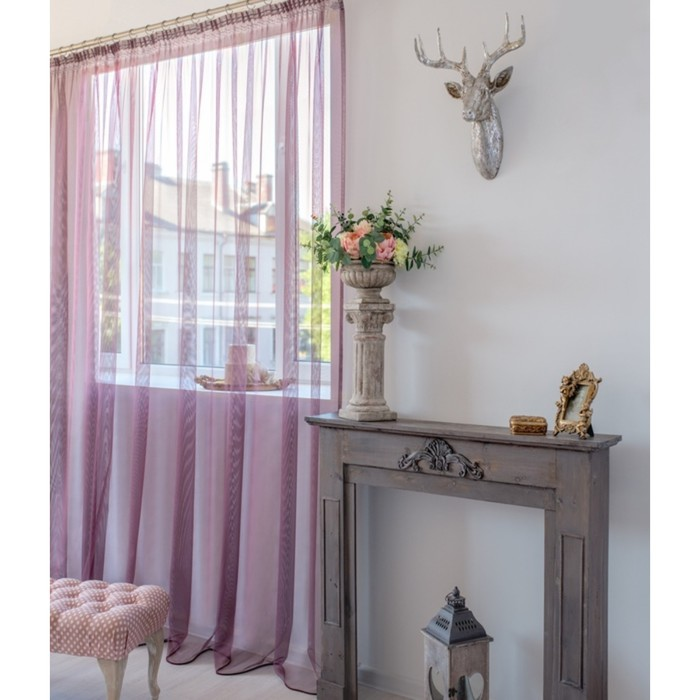 Тюль Hohmann, размер 300х250 см, цвет розовый, шторная лента