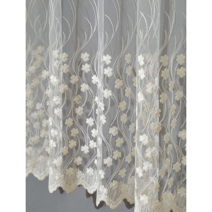 Штора 145х260 см сетка с вышивкой, цв.молочный, пэ 100%