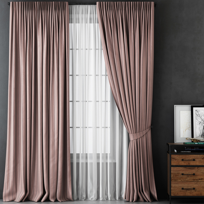 Комплект штор «Алекс», размер 170х270 см, розовый