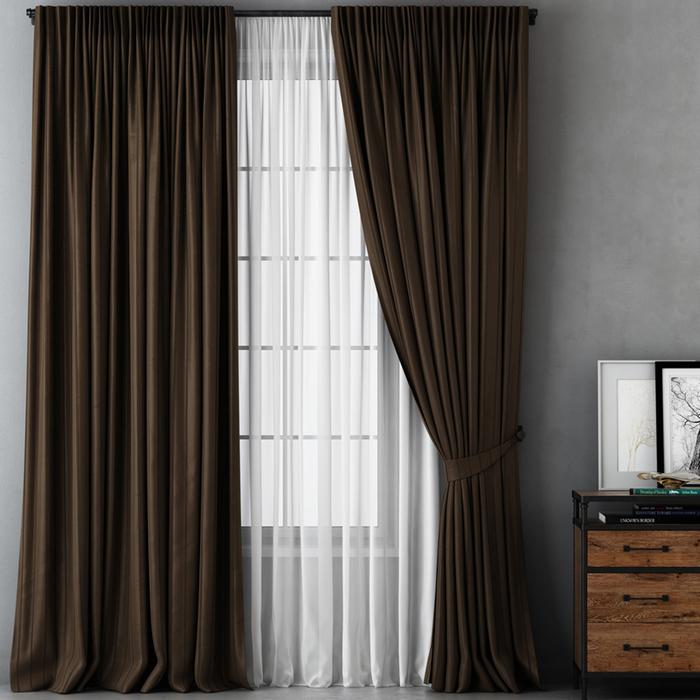Комплект штор «Алекс», размер 170х270 см, коричневый
