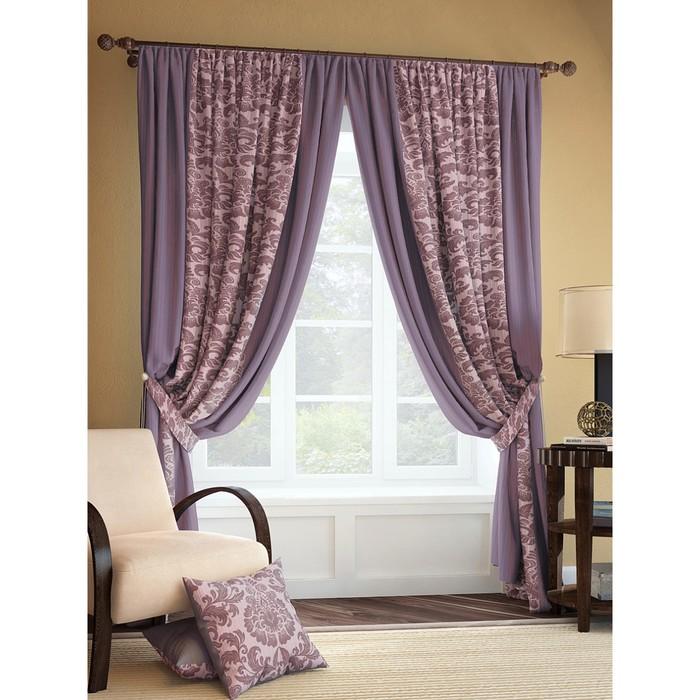 Комплект штор «Иналда», размер 185 × 280 см - 2 шт, фиолетовый