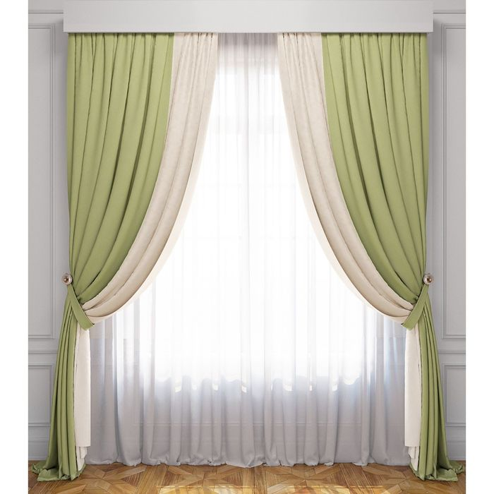 Комплект штор «Латур», сливочно-зелёный, 100% полиэстер