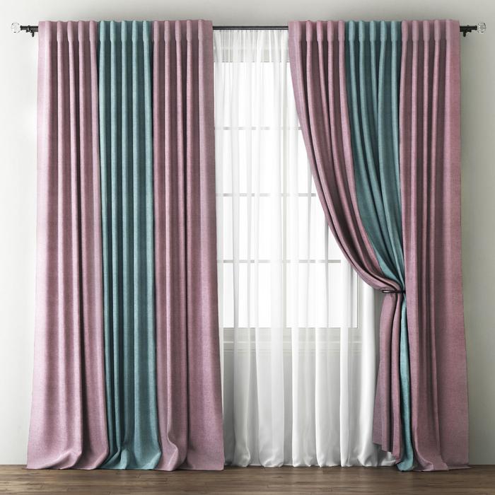 Комплект штор «Кирстен», размер 170х270 см, розовый/голубой