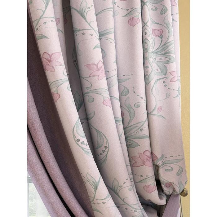 Комплект штор «Инцас», размер 220 × 280 см - 2 шт, розово-фиолетовый