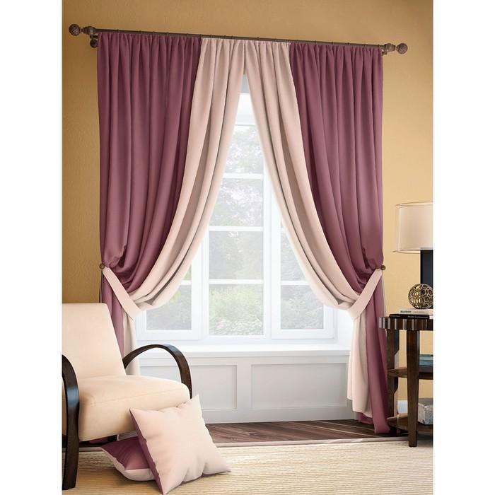 Комплект штор «Фонти», размер 220 × 320 см - 2 шт, розово-сливовый