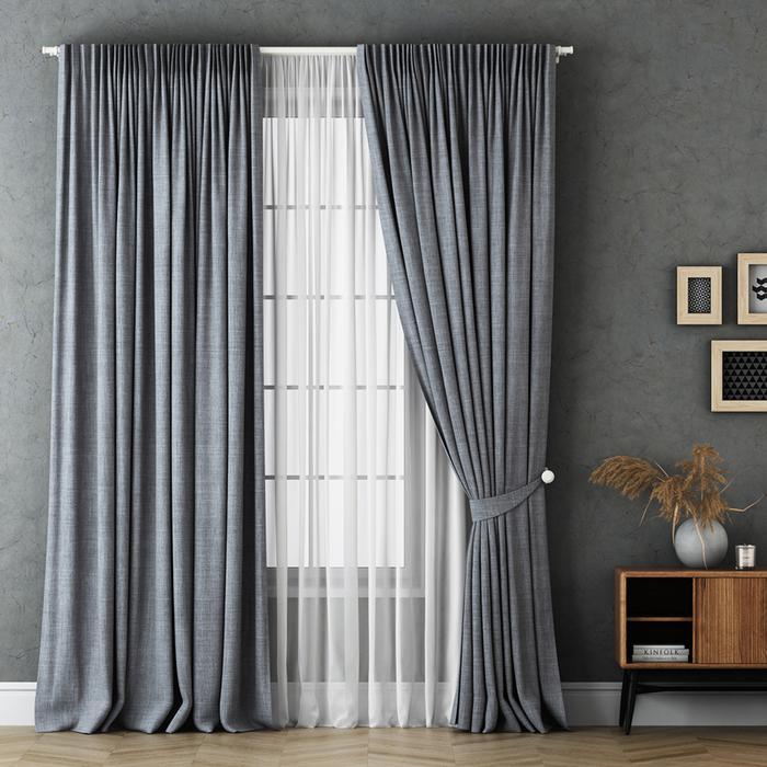 Комплект штор «Маркус», размер 170х270 см, серый