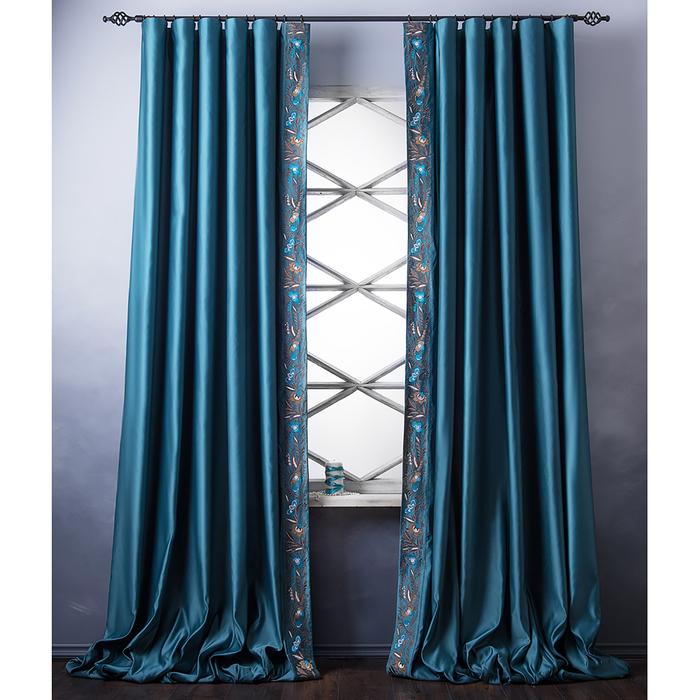 Комплект штор «Шарлиз», размер 200х280 см, бирюзовый